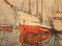 Seattle Harbor (red hull) by (James) Edgar Forkner