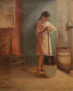 Girl with Butter Churn