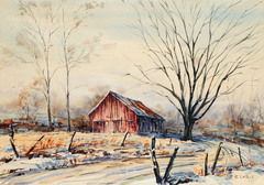 Brown County Barn with Road by Al LaToor