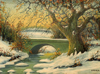 Winter Stream with Bridge