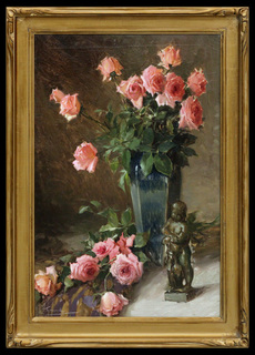 Floral Still Life with Statuette